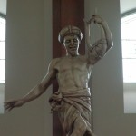 Over the choir, David, with lyre