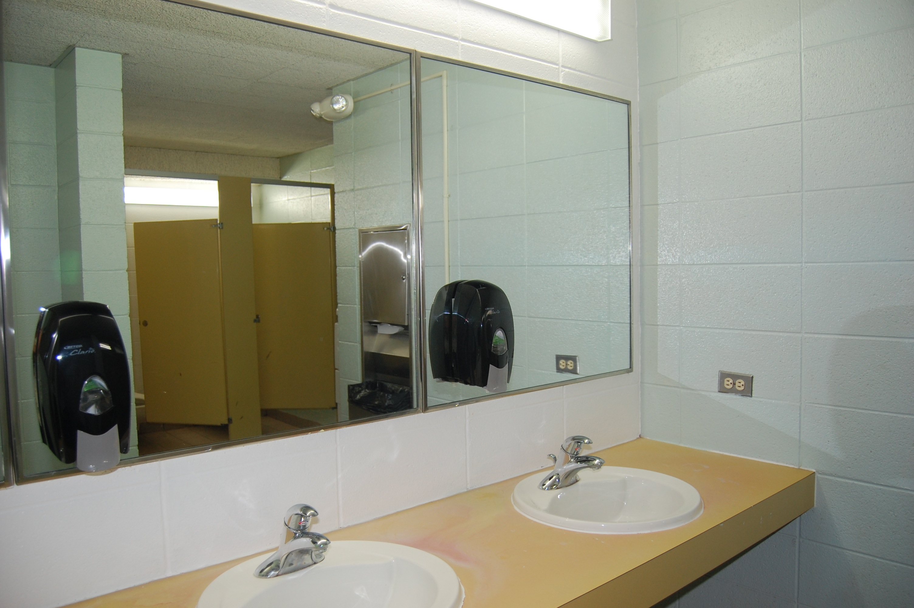 The bathroom laminate counters are stained and the restrooms need to be updated to serve all guests.