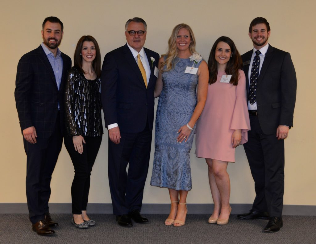 Greg Brown, his sponsors (and children), Troy Brown and Megan Czerwinski, Ann Stohl, her sponsor Danielle Kemp, and Michael Beard, Pastoral Associate and Director of RCIA
